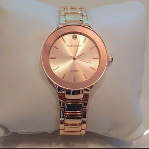 100645f87 ELLEN TRACY Diamond Accented Bracelet Watch